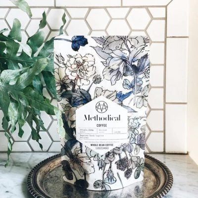 Loving this new #frameworthy package @methodicalcoffee in #greenvillesc with beautiful #artwork by @anniekoelle #enjoymethodical #specialtycoffee #print #packaging 📷: @methodicalcoffee