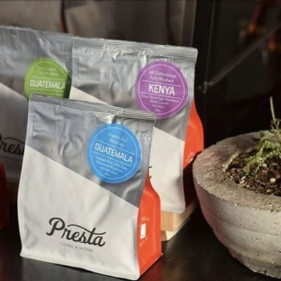 Roasting beautiful #specialtycoffee in #tucson @prestacoffee with beautiful #packaging to match #qualityinsideout #greatbrandsgreatpackage #regram 📷: @prestacoffee