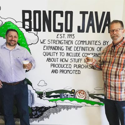 Enjoying a great cup of #coffee prepared by George who also created the awesome mural @bongojavaroastingco #belmont #coffeefestnashville #coffeefest #nashville