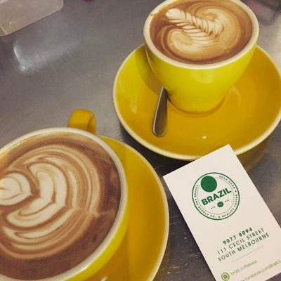 Flat White and Magic prepared by Mali @brazil_coffee.sup in #southmelbourne Looking forward to #mice2017! #booth207 #elevateyourbrand #melbournecoffee #custompackaging #coffeepackagingprinting