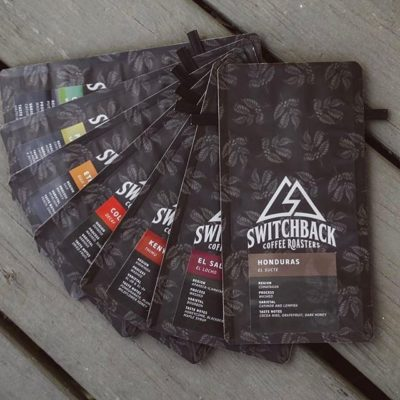 Love this beautiful #packaging rainbow @switchbackroasters in #coloradosprings, with #coffee, community and ❤️️ at its core #coffeepackaging #customcoffeebags #coffeepackagingprinting 📷: @switchbackroasters