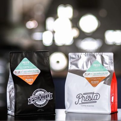 Love this collaboration of Peixoto x Presta! Featuring a natural nanolot from @peixotocoffee's family farm and @prestacoffee's red honey El Salvador from @anny_ruth's farm. #specialtycoffee #coffeecommunityrocks #greatbrandsgreatpackage #coffeepackaging #customcoffeebags #coffeepackagingprinting 📷: @prestacoffee