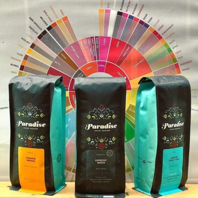 Love the 🌈 of colorful design  in this delightful new packaging from @paradiseroasters, representing the cultures, people and lands from their delicious #specialtycoffee #coffeepackaging #customcoffeebags #coffeepackagingprinting 📷: @paradiseroasters