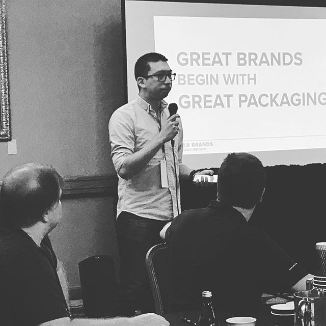 Marc Marquez sharing insights on how to elevate your brand with #packaging @goldenbean.northamerica #GBNA17 #coffeepackaging #customcoffeebags #coffeepackagingprinting