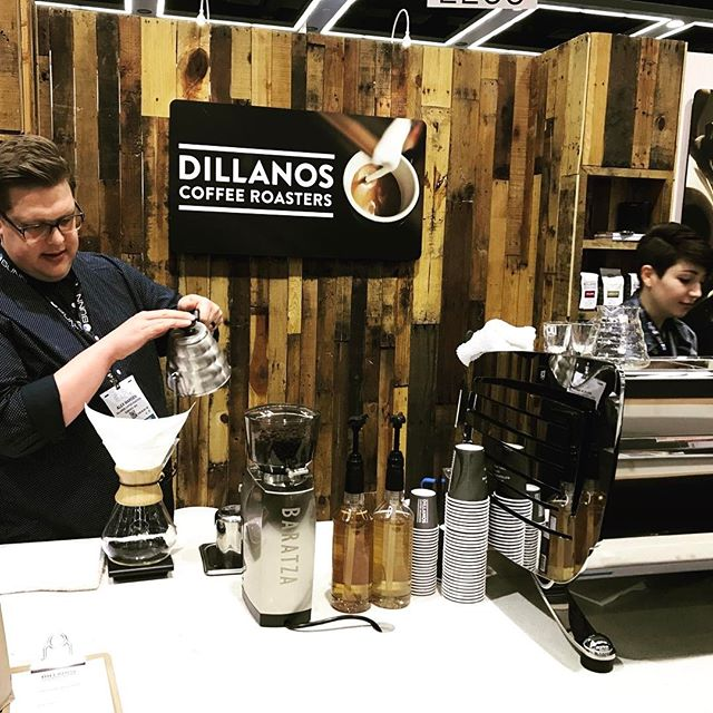 Thanks @dillanos for keeping us caffeinated with delicious #specialtycoffee on this last day of @specialtycoffeeassociation #coffeeexpo2017! #greatbrandsgreatpackage #coffeepackaging #customcoffeebags #coffeepackagingprinting