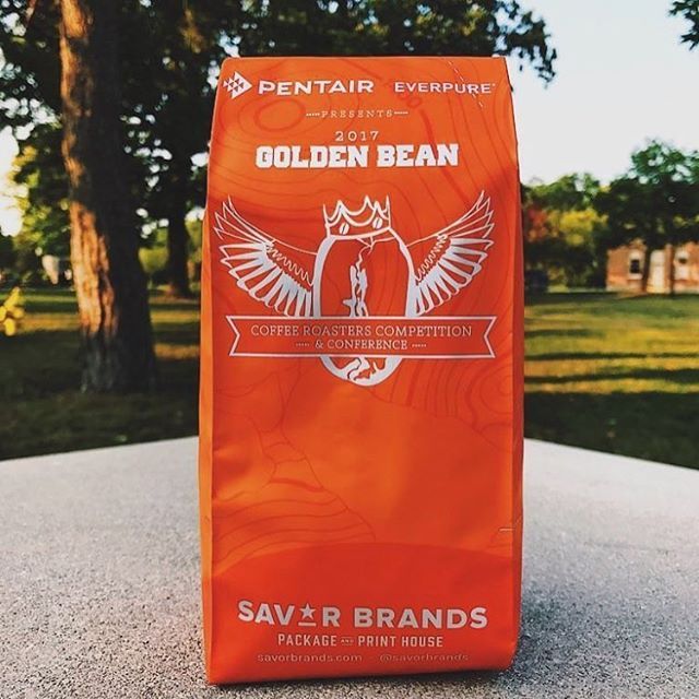 Excited to be @goldenbean.northamerica in #PortlandOregon! #coffeepackaging #customcoffeebags #coffeepackagingprinting 📷: @reprisecoffeeroasters