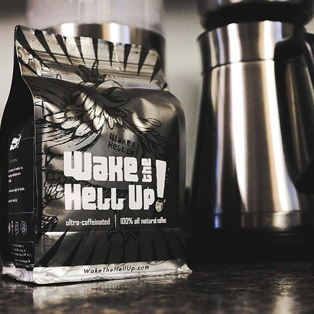 Roasted in small batches with an extra kick of caffeine @wakethehellupcoffee #comingsoon @uticacoffee #specialtycoffee #coffeepackaging #customcoffeebags 📷: @wakethehellupcoffee