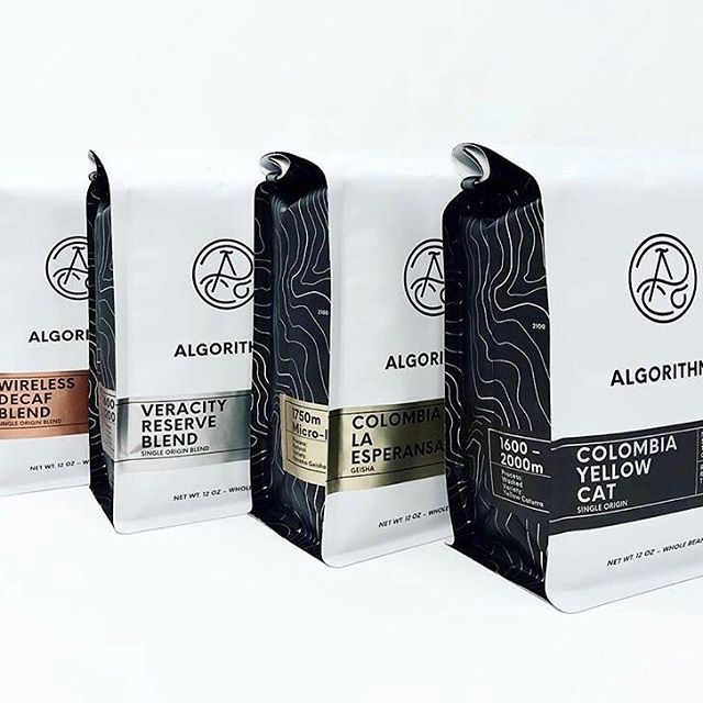 Delicious #specialtycoffee crafted in Berkeley @algorithmcoffeeco in fresh new packaging 🙌🏽 #qualityinsideout #coffeepackaging #customcoffeebags 📷: @algorithmcoffeeco