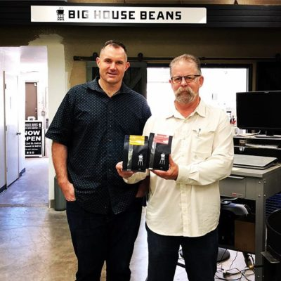 Great catching up with John Krause @bighousebeans #specialtycoffeeroaster #secondchances #qualityinsideout #coffeepackaging #customcoffeebags