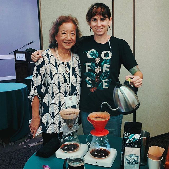 Dr. Chifumi Nagai (HARC) and Juli Burden (HARC/The Curb/Morning Glass) serving Mamo, a new coffee hybrid variety based off of research from Dr. Nagai and Tommy Greenwell @greenwellfarms ☕️ #hawaiicoffeeassociation