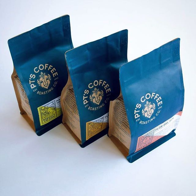 Roasted with love in Kansas @ptscoffee for 25 years 💙 #directtradecoffee #specialtycoffeeroaster #coffeepackaging #customcoffeebags 📷: @ptscoffee