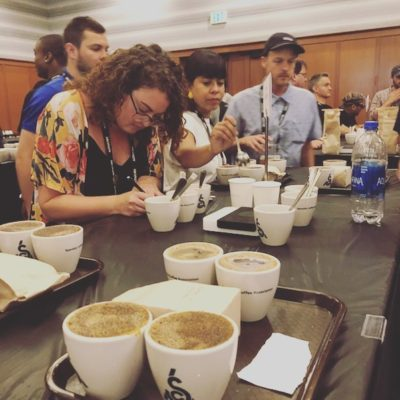 Excited to be a part of @coffeeroastersguild #CRGRetreat! #cuppingcoffee #alwayslearning #roastersguild