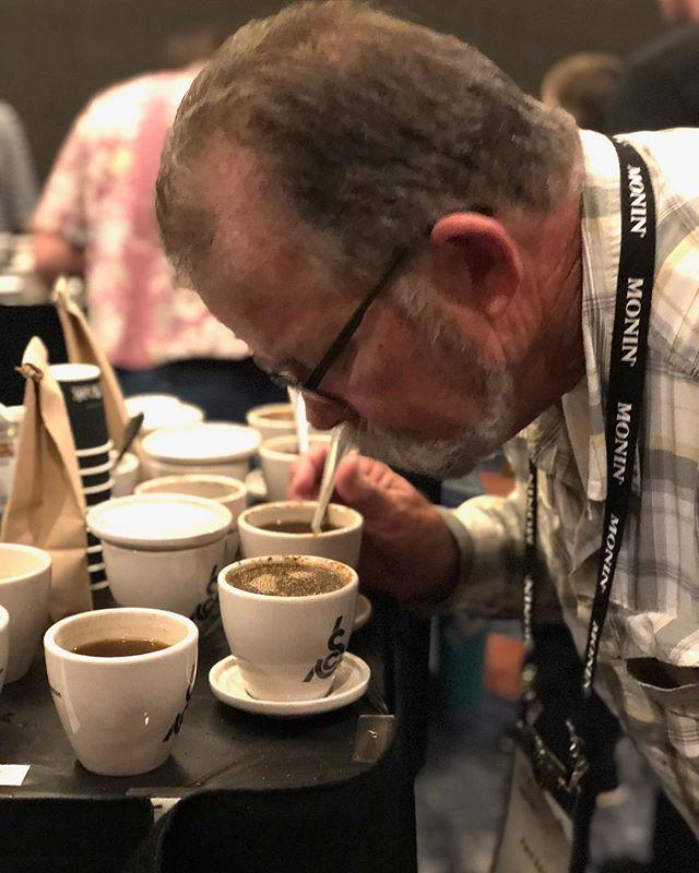 Evaluating coffee @coffeeroastersguild #CRGRetreat #specialtycoffee #coffeeeducation