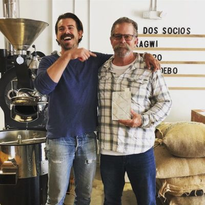Good times creating happy shared moments with Stevie @arcaderoasters 🙌🏽 #specialtycoffeeroaster #RiversideCA #coffeepackaging #customcoffeebags