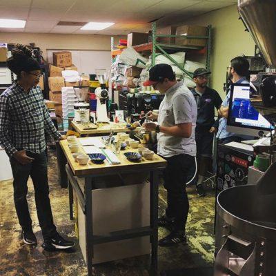 Cupping their next coffees @blackwhiteroasters in #WakeForestNC ☕️#specialtycoffeeroaster #coffeepackaging #customcoffeebags
