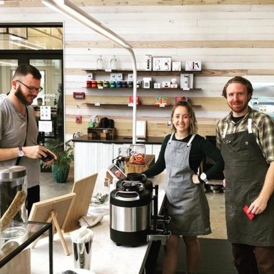 Neal & Izzy working the bar phenomenally @gg_roasting at Greater Goods' new #coffeeshop, lab and #roastery on 5th St in #Austin #coffeewithkindness #specialtycoffeeroaster #atxcoffee