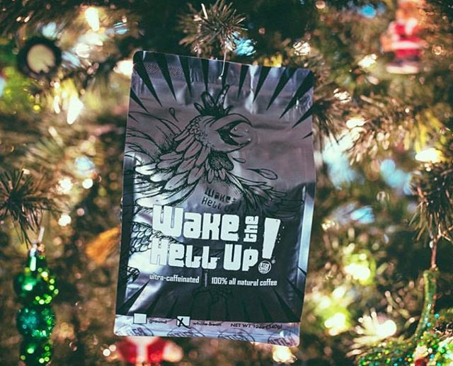 Getting merry @wakethehellupcoffee, where #specialtycoffee is roasted in small batches with up to 50 percent more caffeine #caffeinefix #coffeepackaging #customcoffeebags 📷: @wakethehellupcoffee