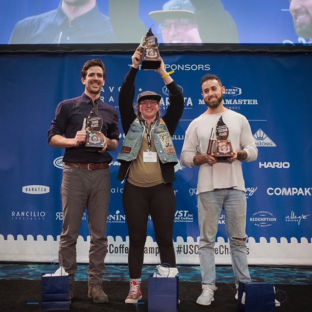 Congratulations Shelby Williamson @huckleberryroasters 🥇, Hugh Moretta @lacolombecoffee🥈, Mark Boccard @southdowncoffee 🥉, and the outstanding competitors for their achievements at the 2019 @uscoffeechamps Roaster Championship! 🙌🏽 #shestheroaster #specialtycoffeeroaster #usroasterchampionship