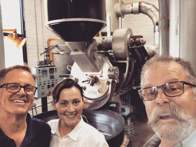 Awesome catching up with Gretchen and Don @claytoncoffeeandtea 👏🏼#specialtycoffeeroaster #freshroastedcoffee #responsiblysourced #coffeepackaging