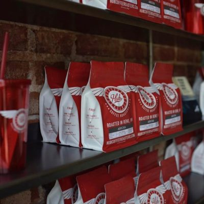 Building community one cup at a time @hubcoffeeroasters #hubcoffeeroasters #specialtycoffeeroaster #coffeepackaging #customcoffeebags 📷: @hubcoffeeroasters