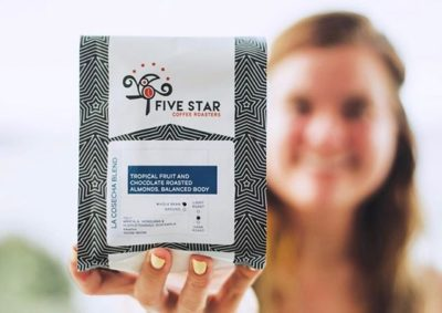 Expertly crafting coffee that enriches lives and connects communities @fivestarcoffeeco #specialtycoffeeroaster #coffeepackaging #customcoffeebags 📷: @fivestarcoffeeco