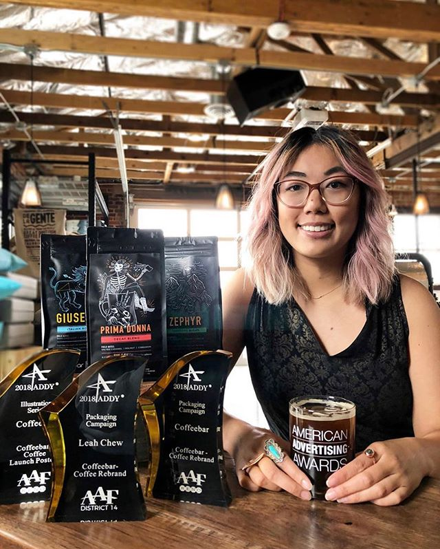 "Congrats @coffeebar and Creative Director Leah Chew on receiving a National ADDY Award for their #coffeepackaging! Their packaging was chosen out of 35,000 entries and highlights @coffeebar's reimagined brand and the evolution of their ""Hand Roasted, Vertically Sourced"" coffee program. What an incredible achievement – we are so delighted for you! #awardwinningpackaging #addyawards"