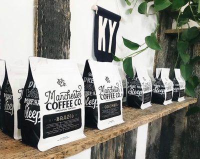 @manchestercoffeeco Fueling the demise of the 9 to 5, one cup of coffee at a time #manchestercoffeeco #specialtycoffeeroaster #coffeepackaging #customcoffeebags 📷: @manchestercoffeeco